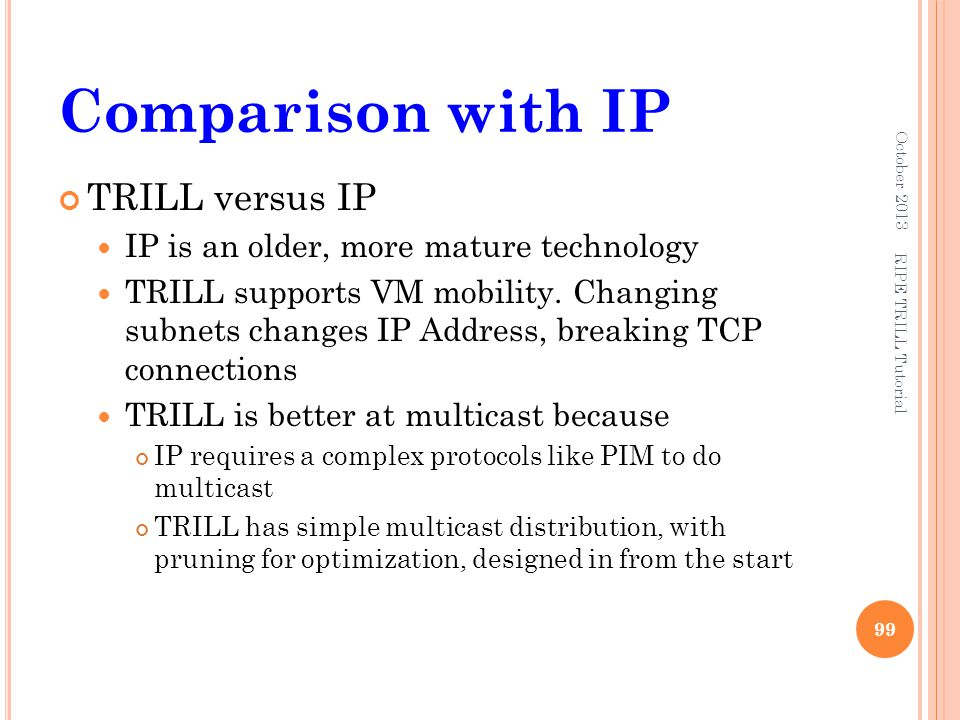 Comparison with IP TRILL versus IP