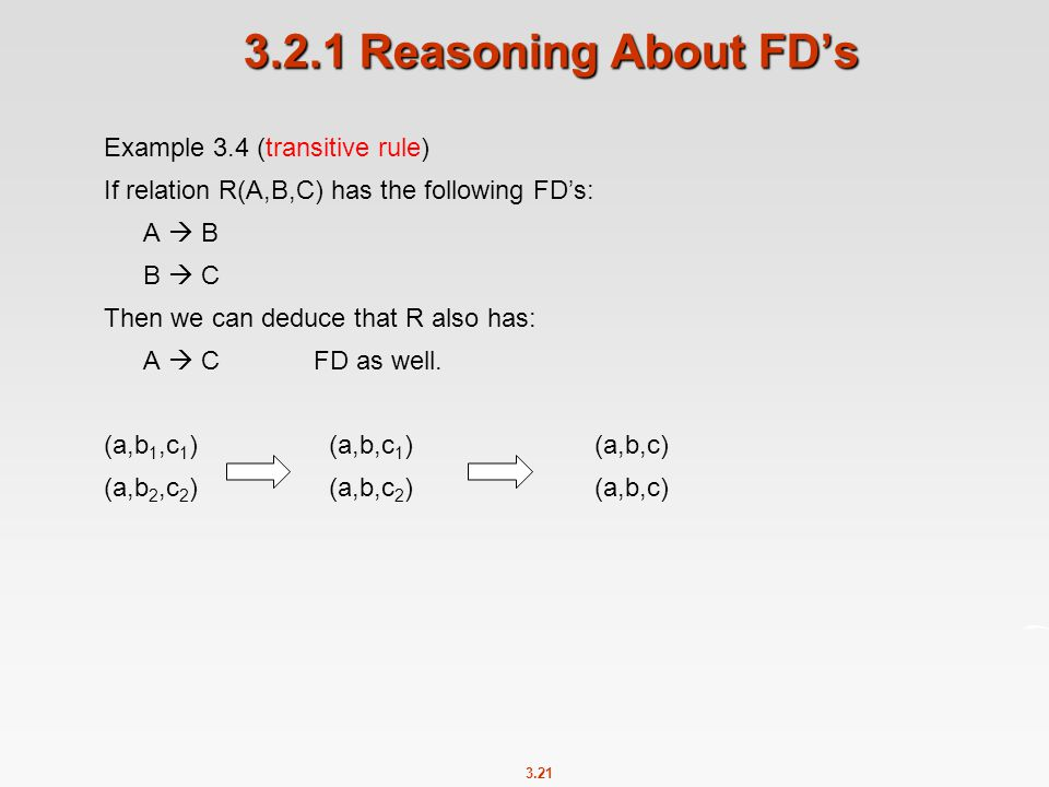3.2.1 Reasoning About FD's