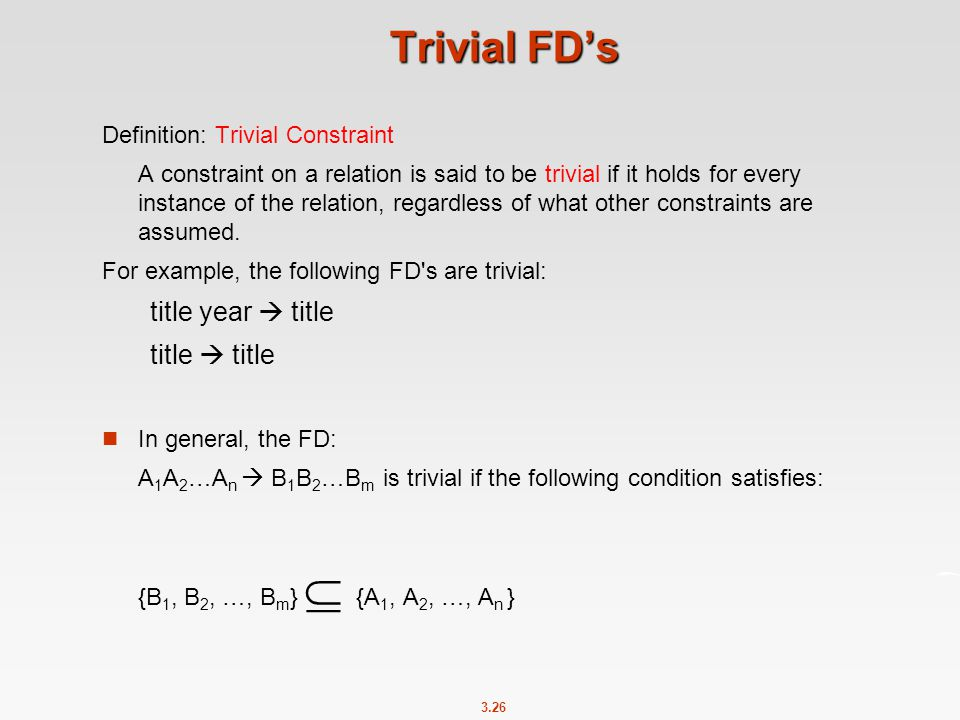 Trivial FD's title year  title title  title