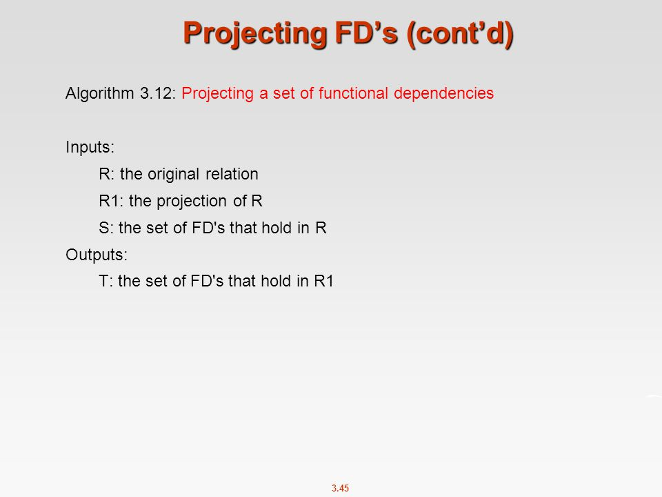 Projecting FD's (cont'd)