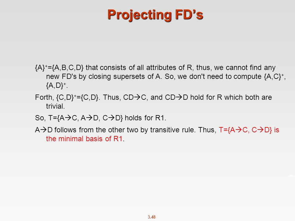 Projecting FD's