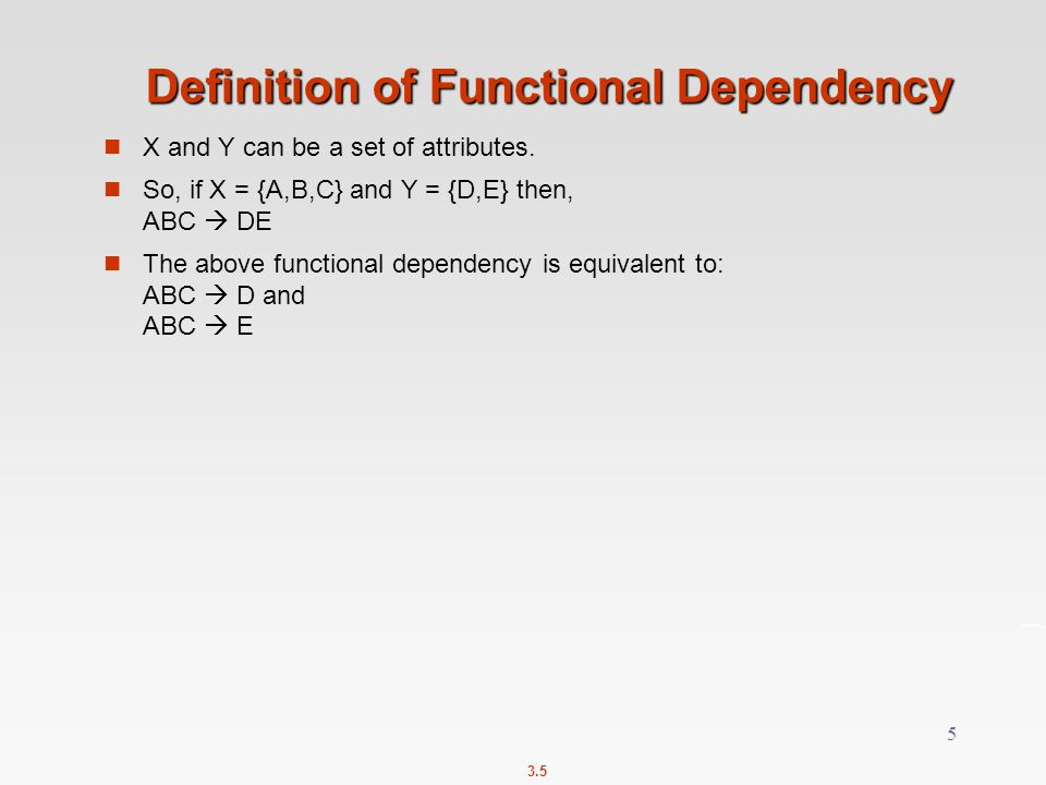 Definition of Functional Dependency
