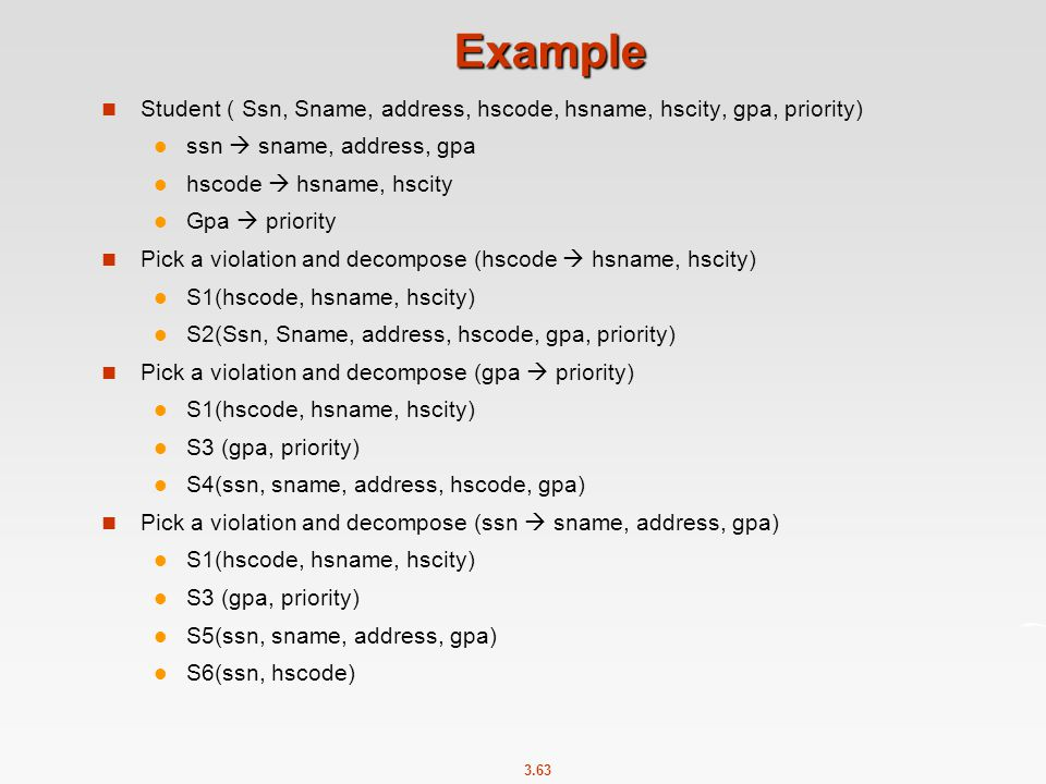 Example Student ( Ssn, Sname, address, hscode, hsname, hscity, gpa, priority) ssn  sname, address, gpa.