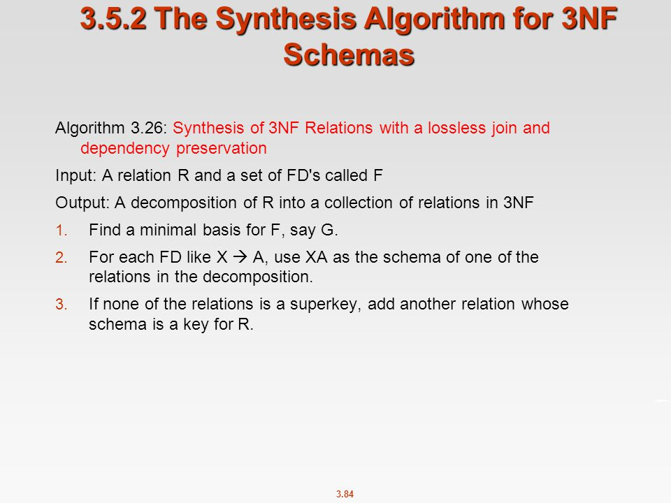3.5.2 The Synthesis Algorithm for 3NF Schemas