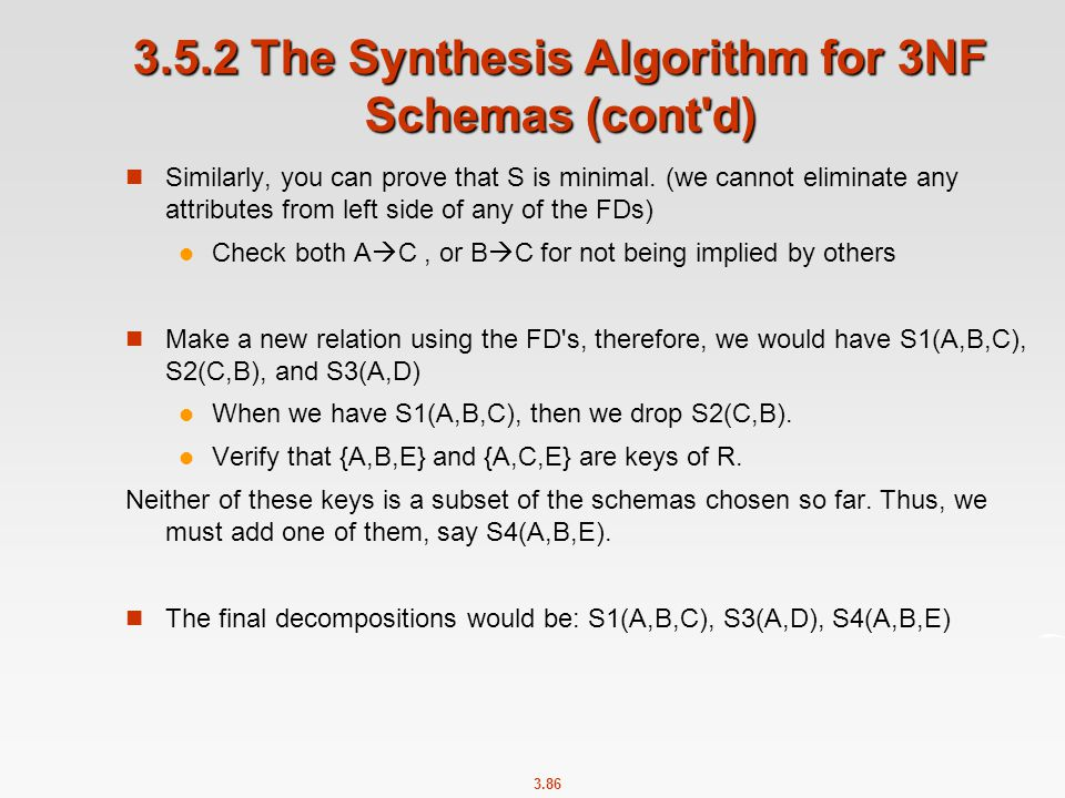 3.5.2 The Synthesis Algorithm for 3NF Schemas (cont d)