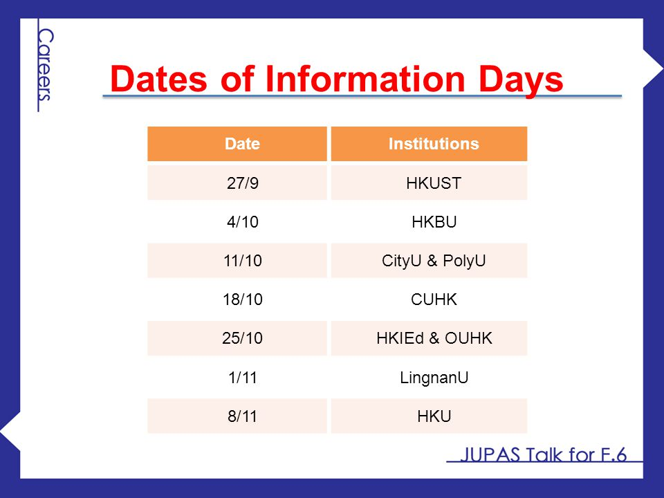 Dates of Information Days