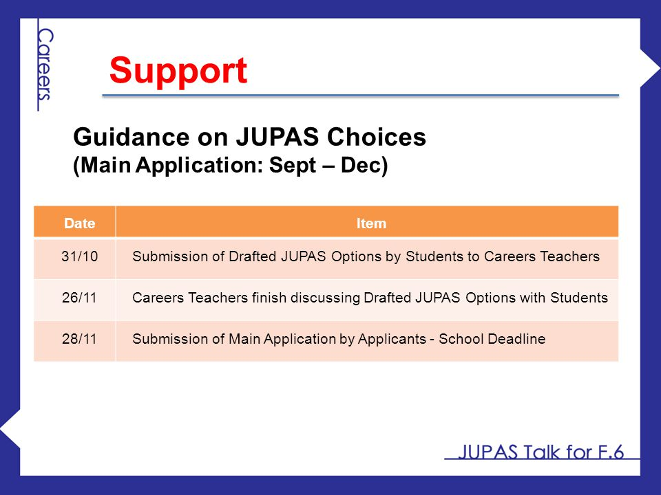 Support Guidance on JUPAS Choices (Main Application: Sept – Dec) Date