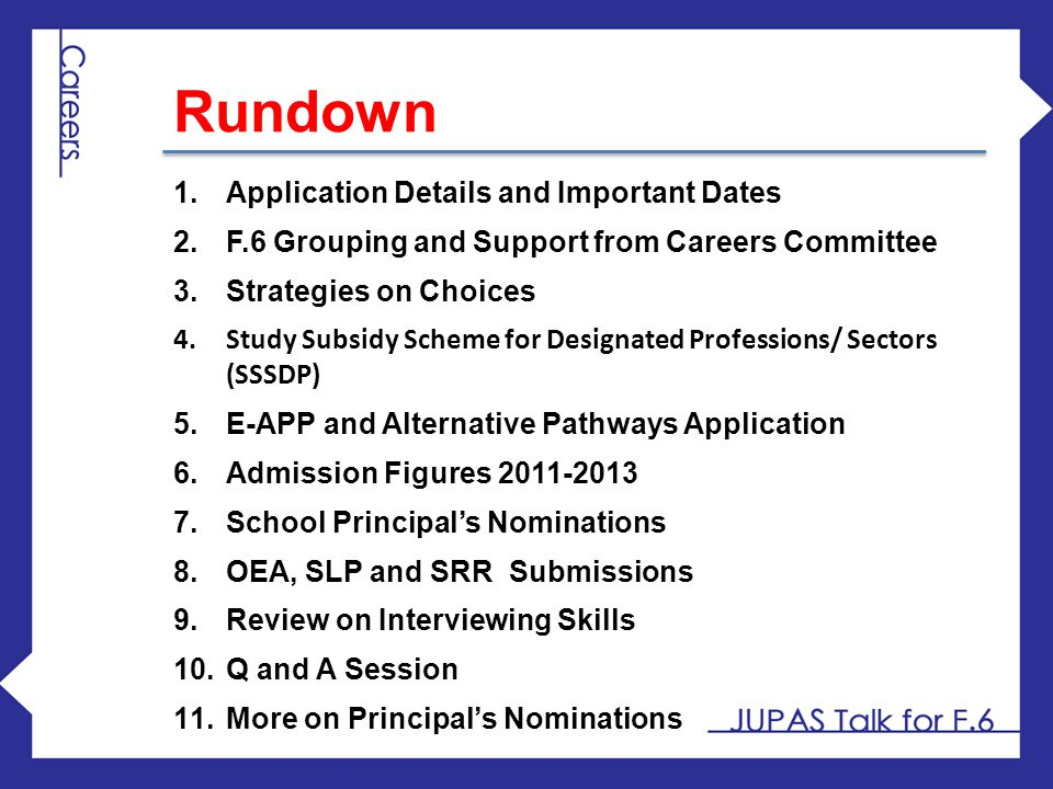 Rundown Application Details and Important Dates