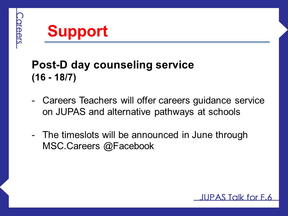 Support Post-D day counseling service (16 - 18/7)