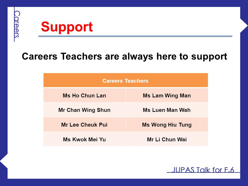 Support Careers Teachers are always here to support Careers Teachers
