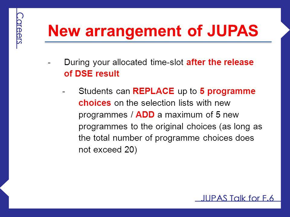 New arrangement of JUPAS