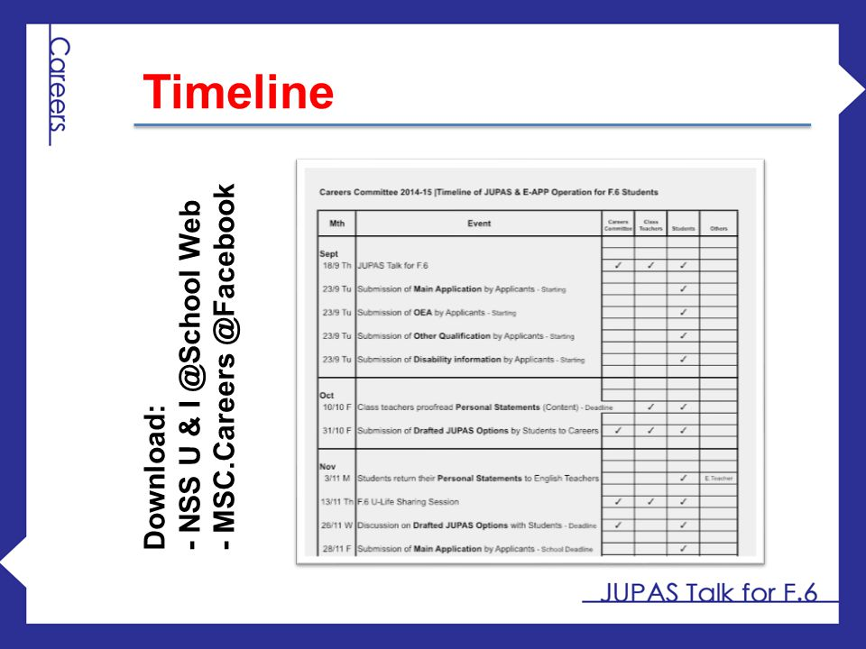 Timeline - MSC.Careers @Facebook - NSS U & I @School Web Download: