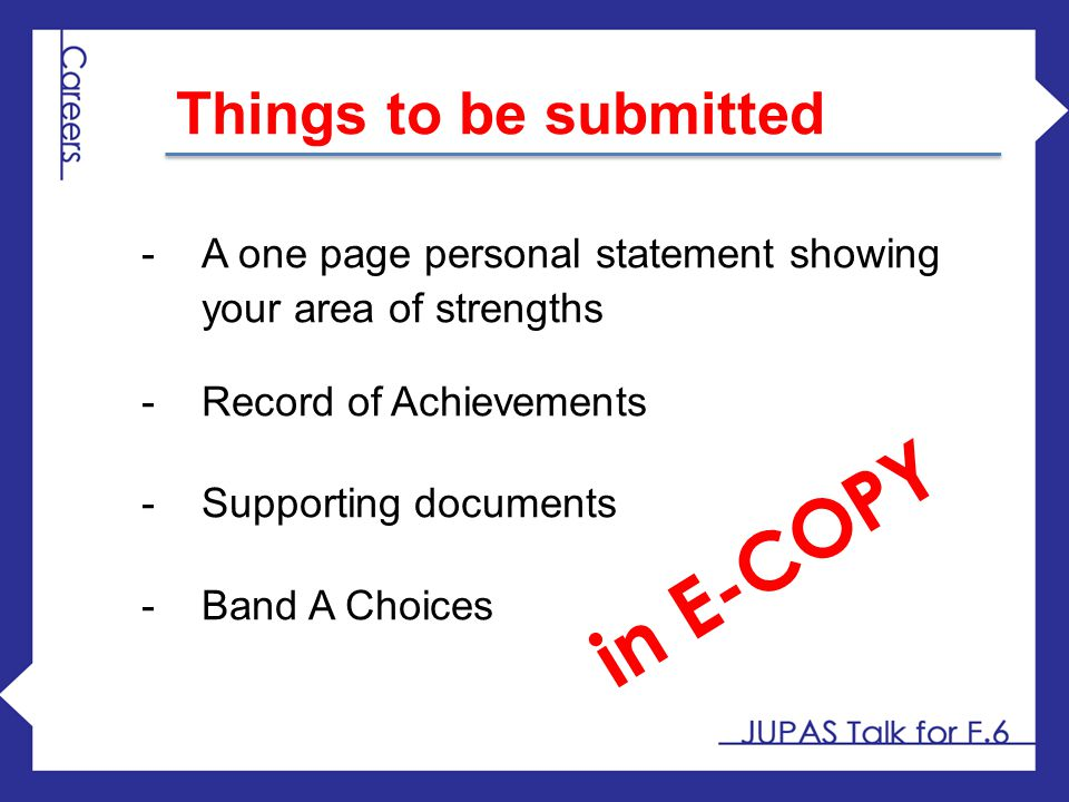 in E-COPY Things to be submitted