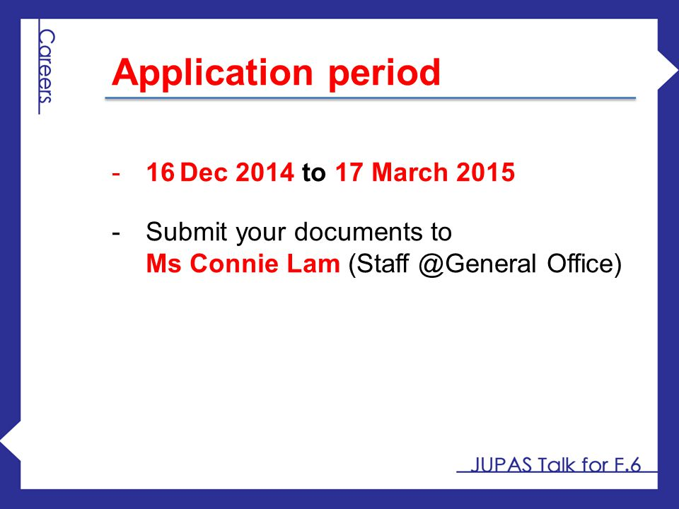 Application period 16 Dec 2014 to 17 March 2015
