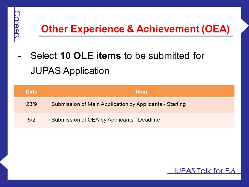 Other Experience & Achievement (OEA)