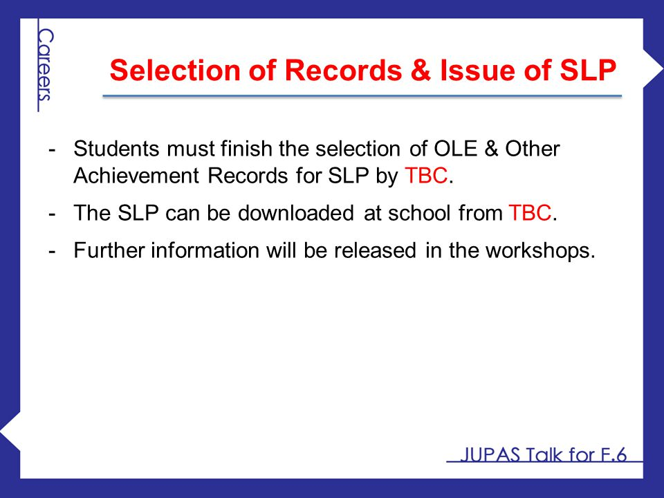 Selection of Records & Issue of SLP