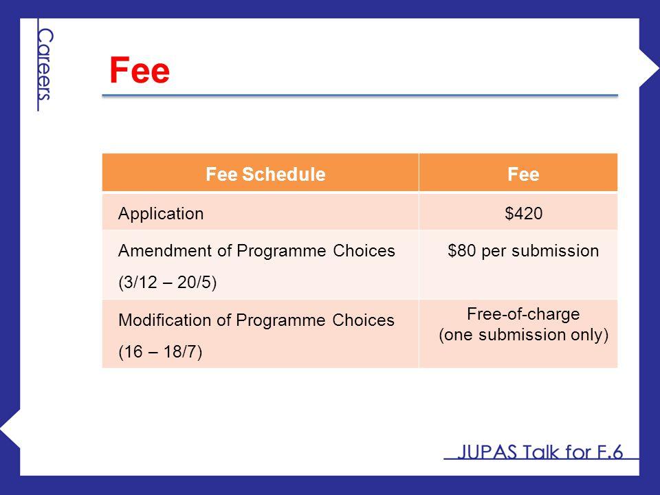 Fee Fee Schedule Fee Application $420