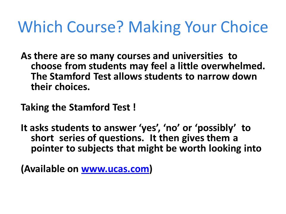 Which Course Making Your Choice