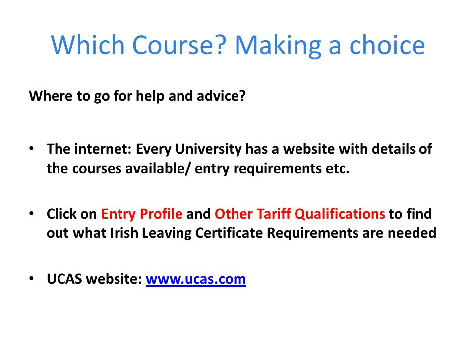 Which Course Making a choice