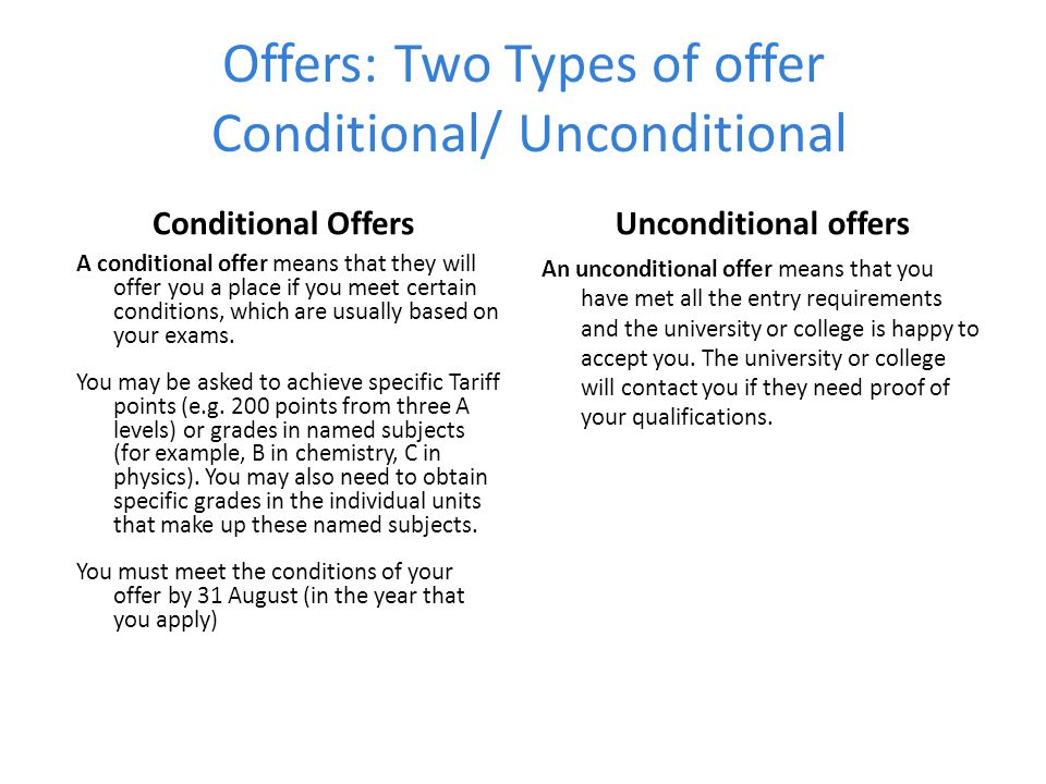 Offers: Two Types of offer Conditional/ Unconditional