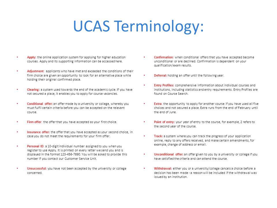 UCAS Terminology: