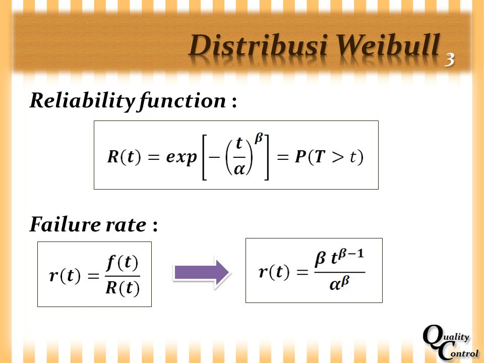 Distribusi Weibull 3 Reliability function : Failure rate :