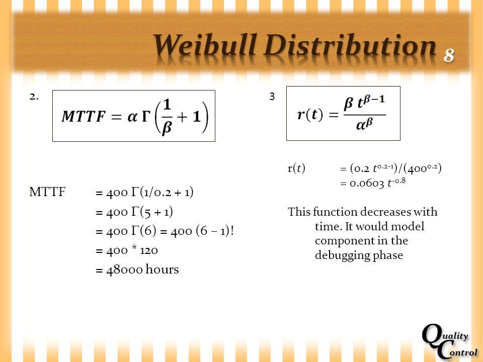 Weibull Distribution 8 2. MTTF = 400 (1/0.2 + 1) = 400 (5 + 1) = 400 (6) = 400 (6 – 1)! = 400 * 120 = 48000 hours