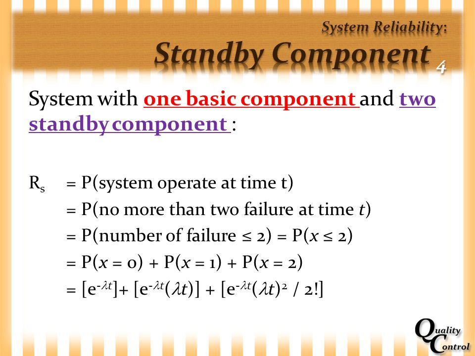 System Reliability: Standby Component 4