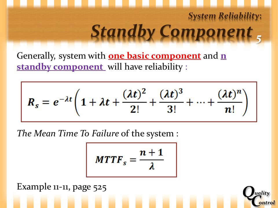 System Reliability: Standby Component 5