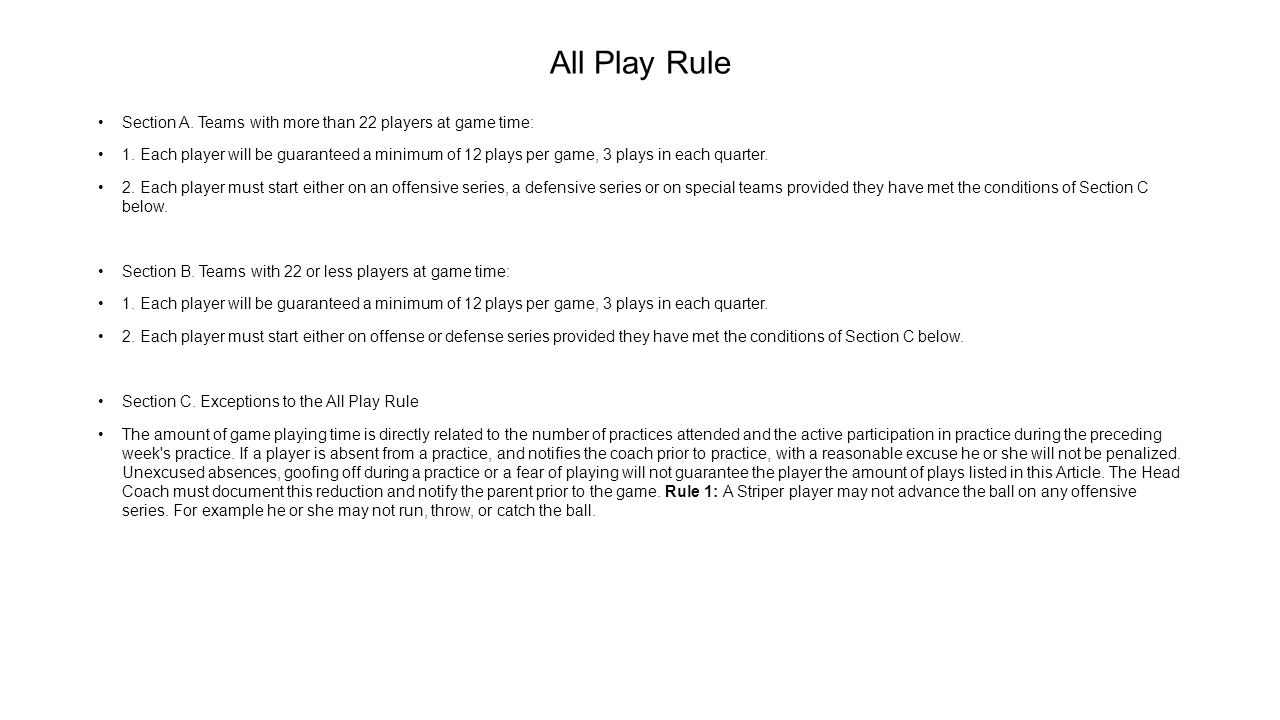 All Play Rule Section A. Teams with more than 22 players at game time: