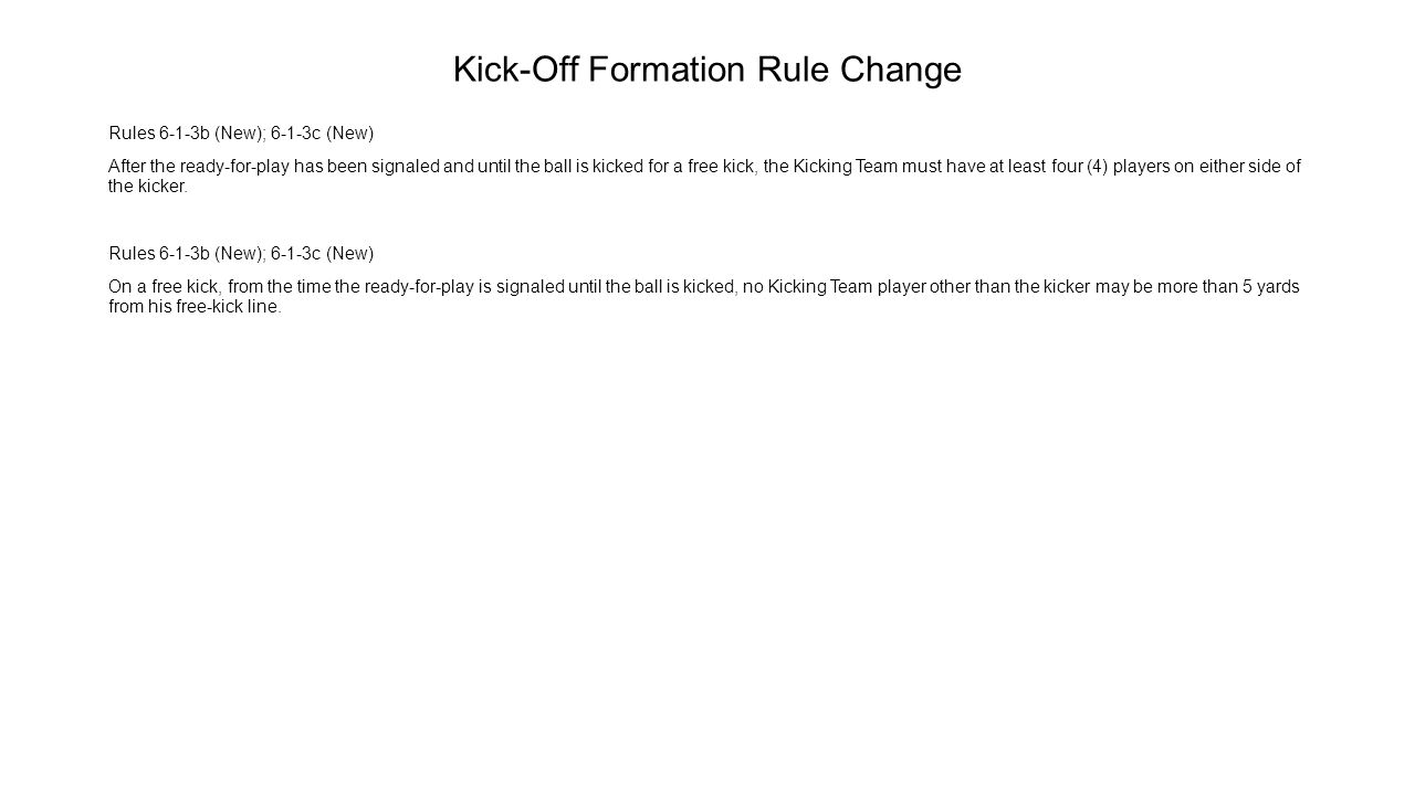 Kick-Off Formation Rule Change