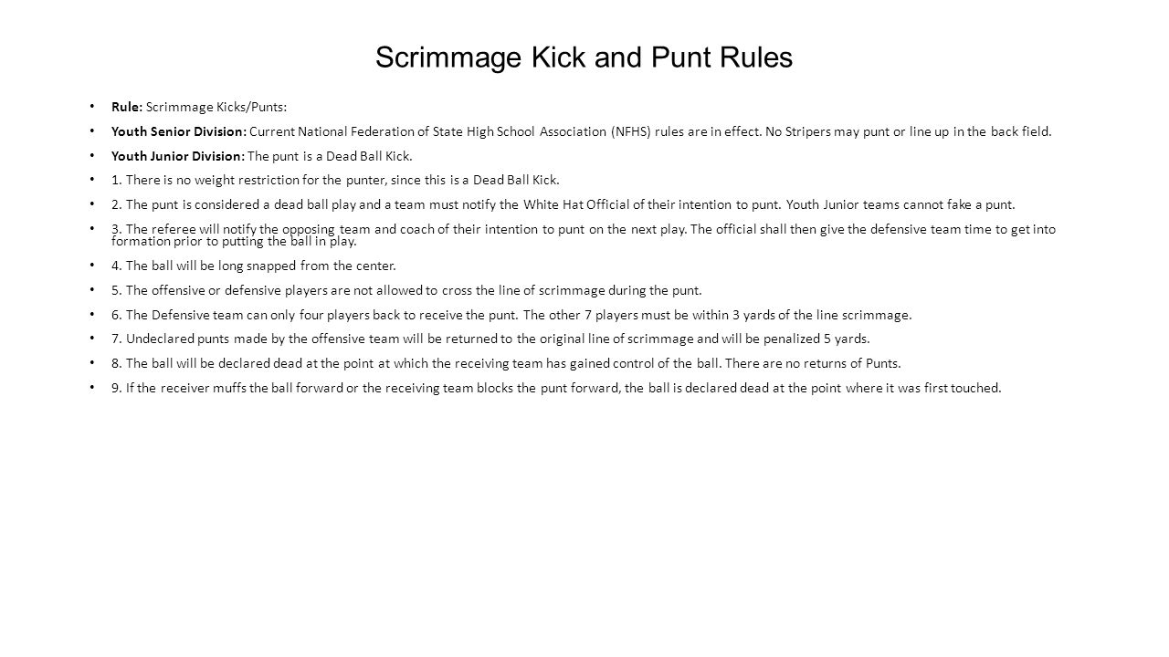 Scrimmage Kick and Punt Rules