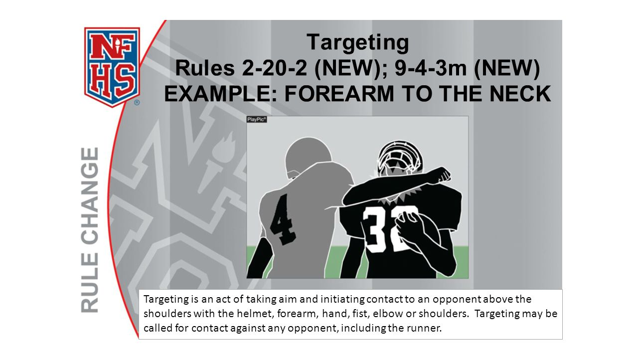 Targeting is an act of taking aim and initiating contact to an opponent above the shoulders with the helmet, forearm, hand, fist, elbow or shoulders.