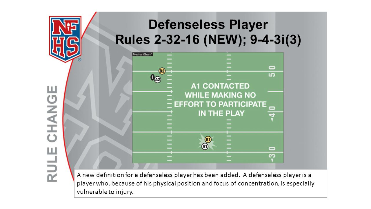 A new definition for a defenseless player has been added