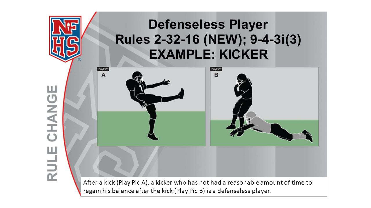 After a kick (Play Pic A), a kicker who has not had a reasonable amount of time to regain his balance after the kick (Play Pic B) is a defenseless player.