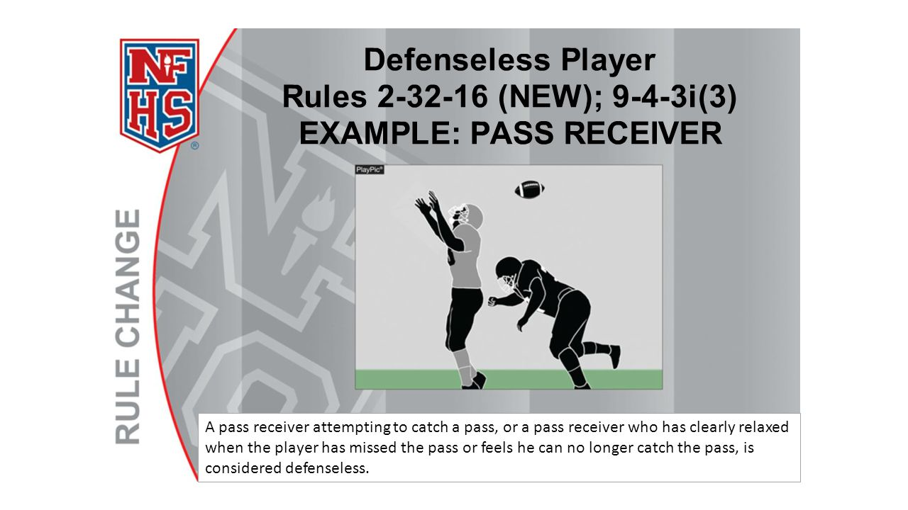 A pass receiver attempting to catch a pass, or a pass receiver who has clearly relaxed when the player has missed the pass or feels he can no longer catch the pass, is considered defenseless.