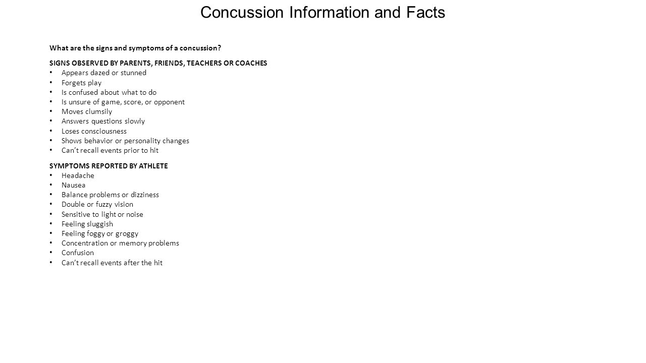 Concussion Information and Facts