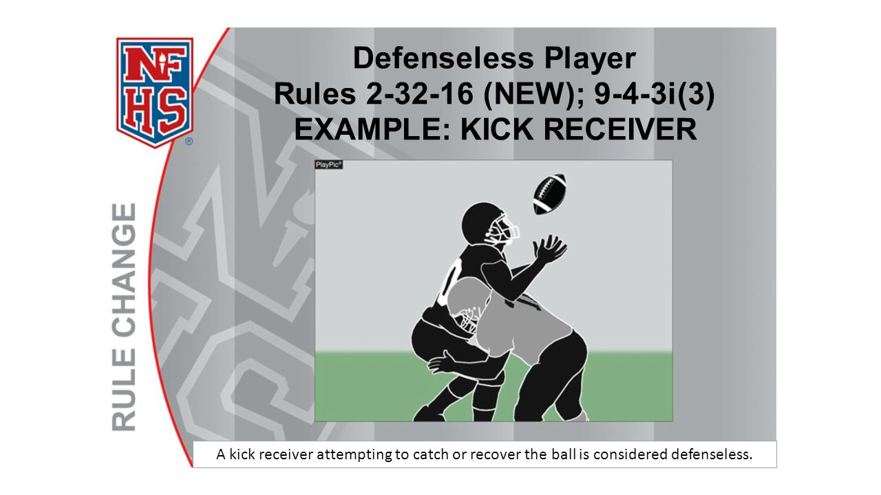 A kick receiver attempting to catch or recover the ball is considered defenseless.
