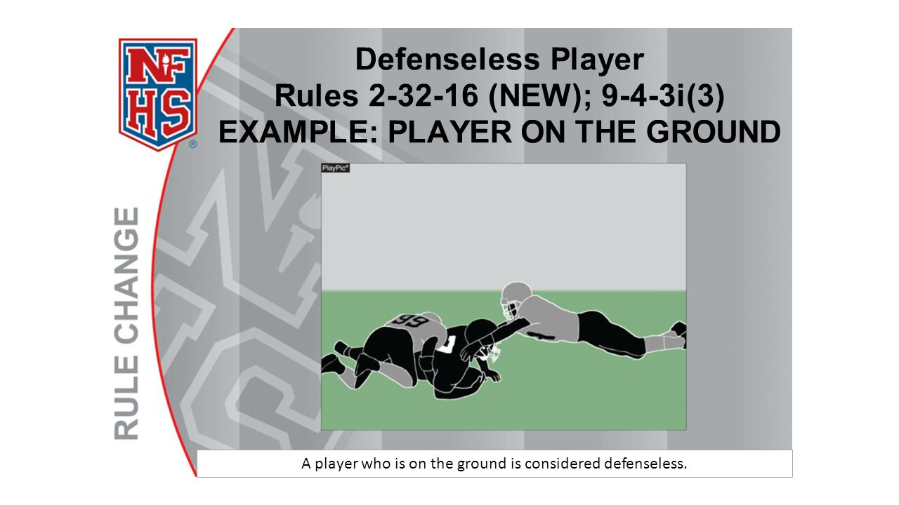A player who is on the ground is considered defenseless.