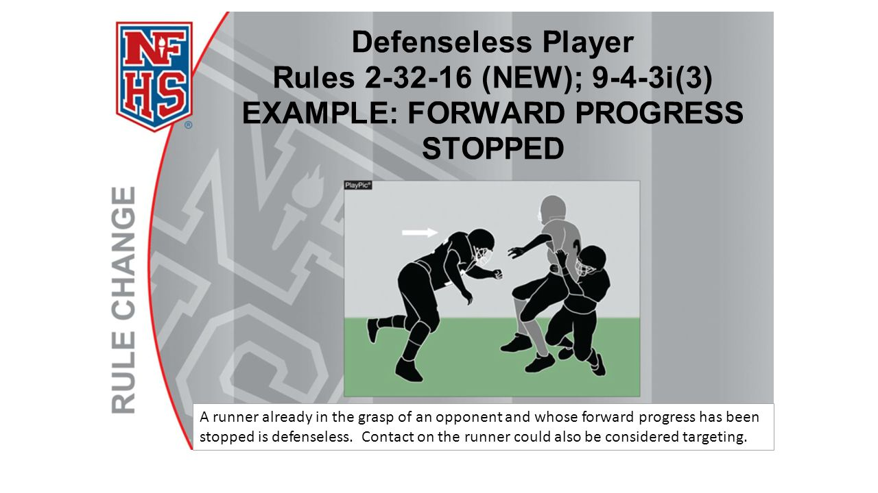 A runner already in the grasp of an opponent and whose forward progress has been stopped is defenseless.