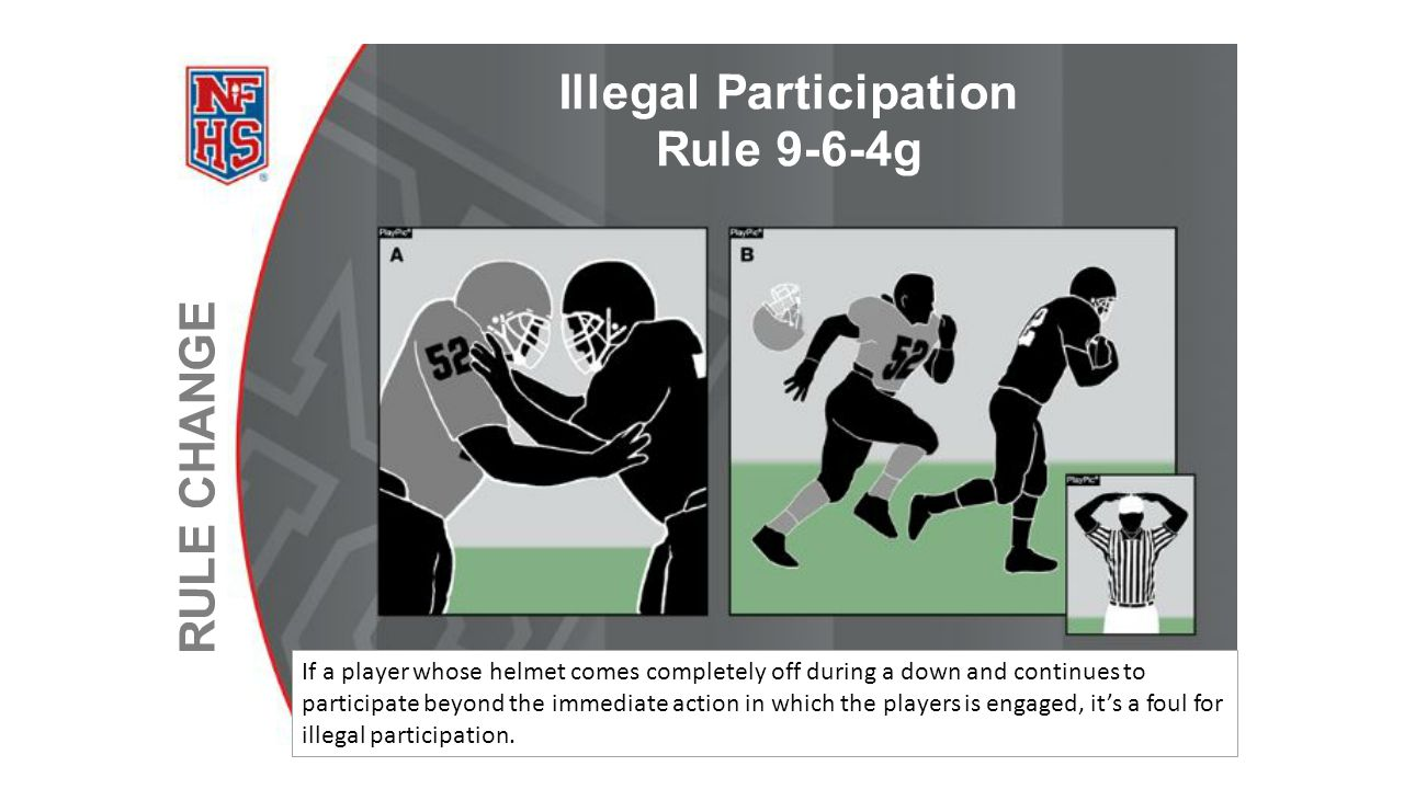 If a player whose helmet comes completely off during a down and continues to participate beyond the immediate action in which the players is engaged, it's a foul for illegal participation.