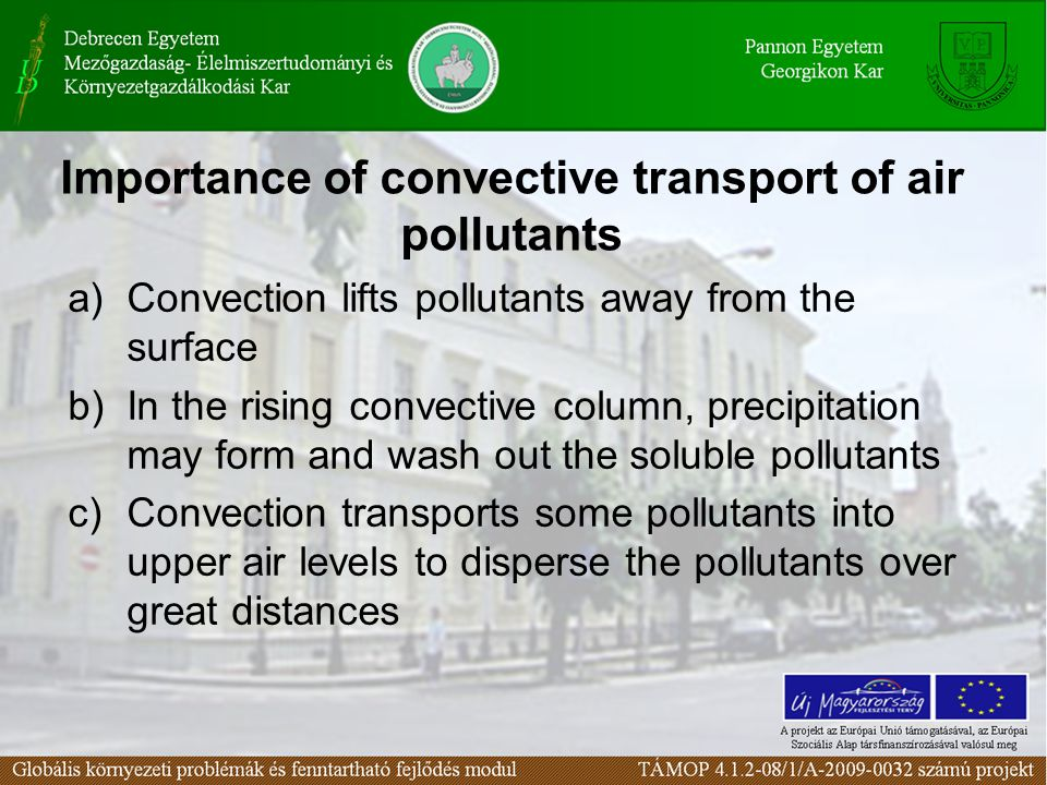 Importance of convective transport of air pollutants