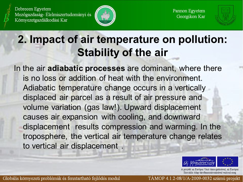 2. Impact of air temperature on pollution: Stability of the air