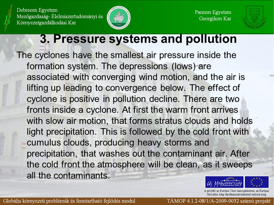 3. Pressure systems and pollution