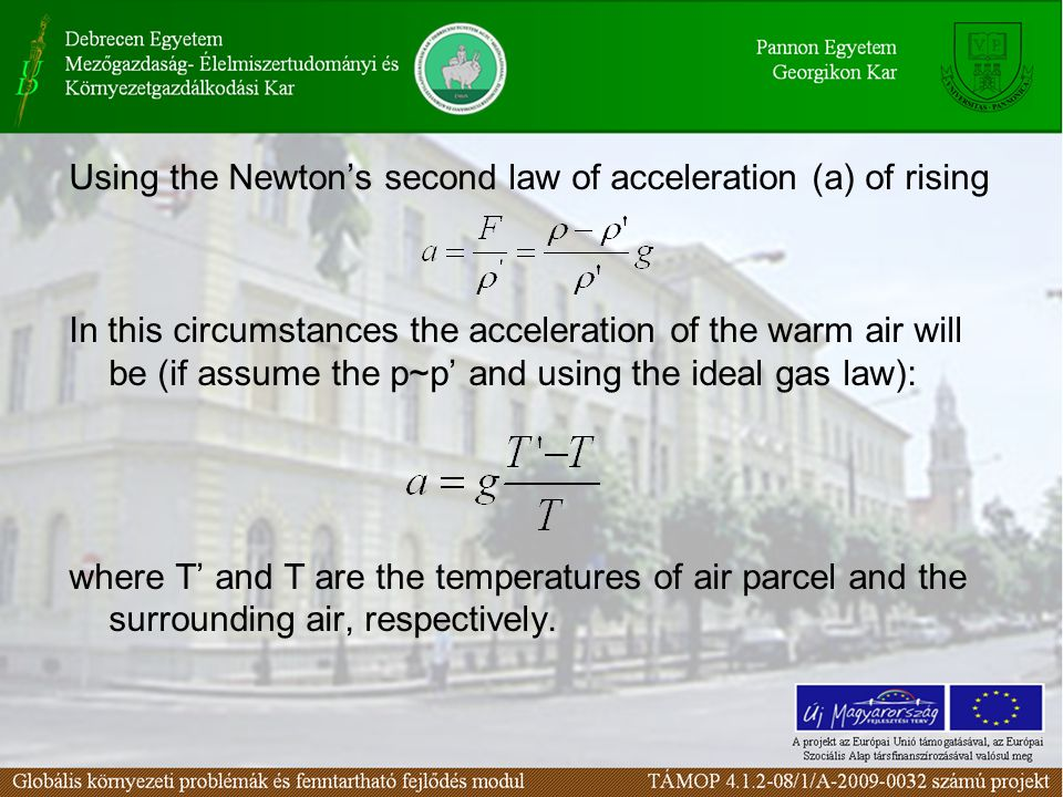 Using the Newton's second law of acceleration (a) of rising