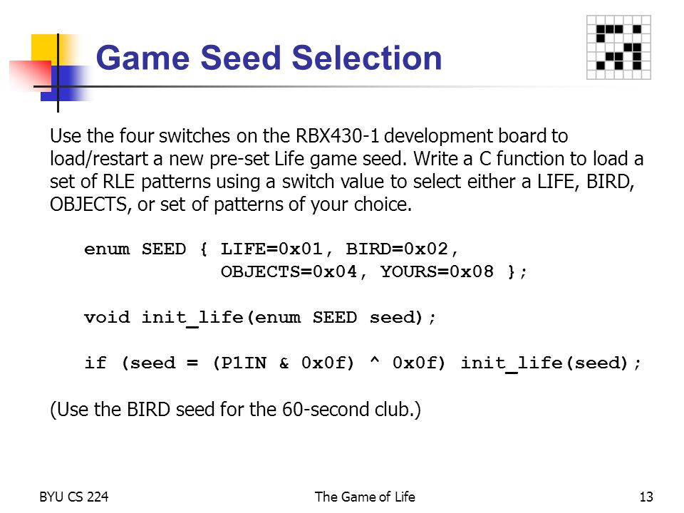 Game Seed Selection