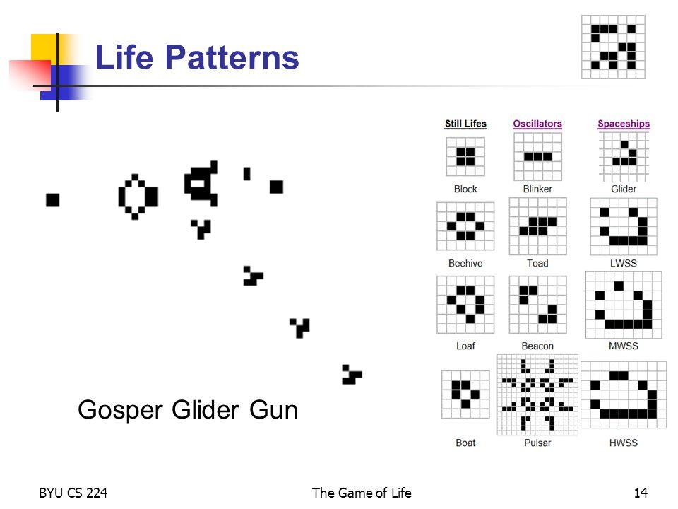 Life Patterns Gosper Glider Gun BYU CS 224 The Game of Life