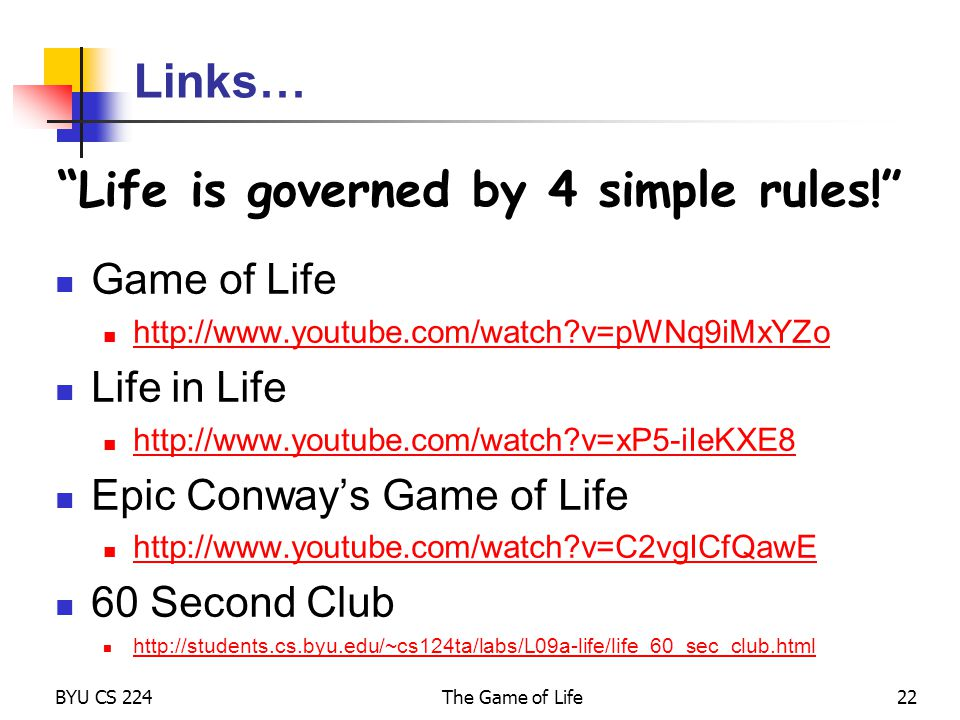 Life is governed by 4 simple rules!