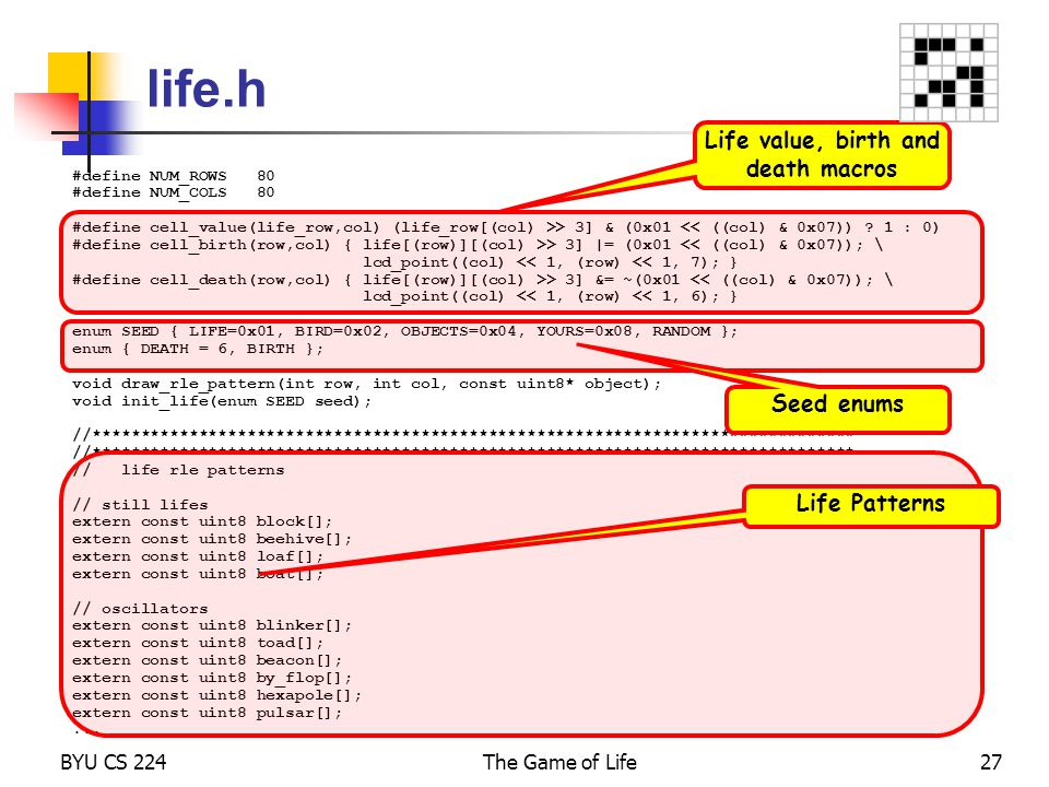 Life value, birth and death macros