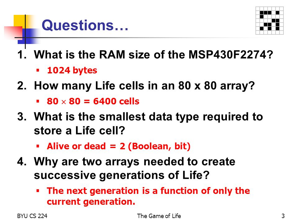 Questions… What is the RAM size of the MSP430F2274
